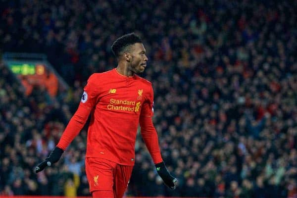 Liverpool's Daniel Sturridge celebrates scoring the fourth goal against Stoke City during the FA Premier League match at Anfield. (Pic by David Rawcliffe/Propaganda)