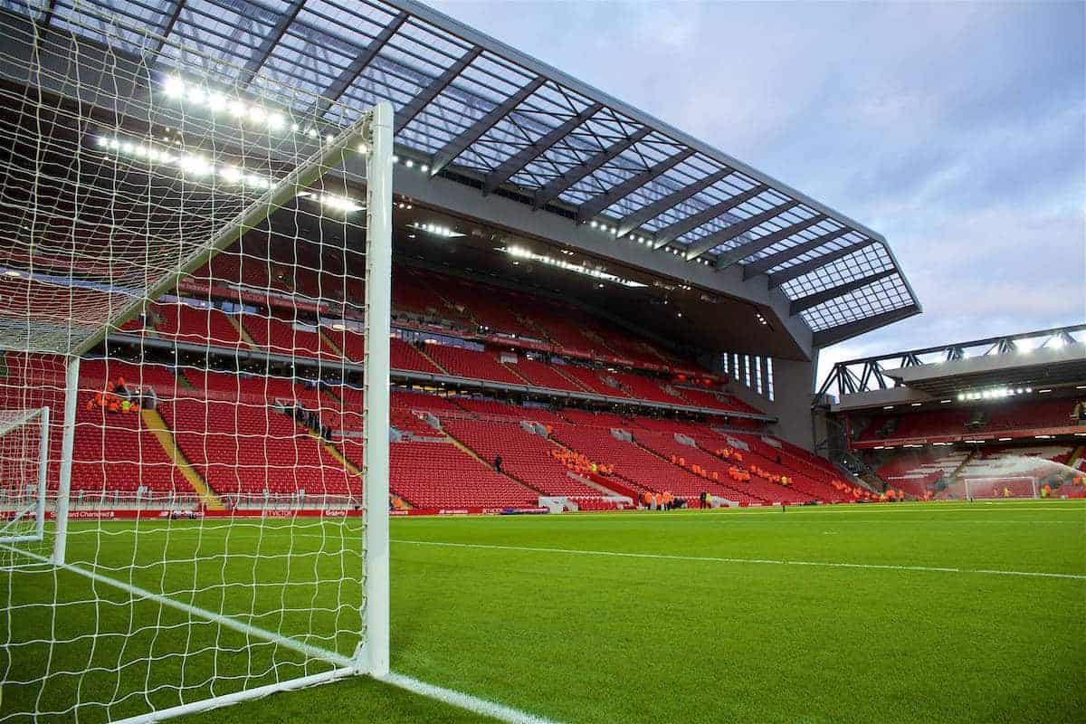 LIVERPOOL, ENGLAND - Saturday, December 31, 2016: A general view of the Anfield pitch from the Spion Kop goal ahead of the FA Premier League match between Liverpool and Manchester City at Anfield. (Pic by David Rawcliffe/Propaganda)