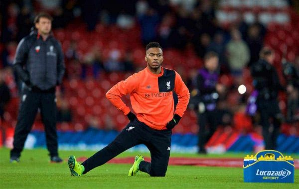 LIVERPOOL, ENGLAND - Saturday, December 31, 2016: Liverpool's substitute Daniel Sturridge warms-up before the FA Premier League match against Manchester City at Anfield. (Pic by David Rawcliffe/Propaganda)