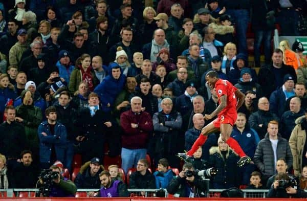 LIVERPOOL, ENGLAND - Saturday, December 31, 2016: Liverpool's Georginio Wijnaldum celebrates scoring the first goal against Manchester City during the FA Premier League match at Anfield. (Pic by David Rawcliffe/Propaganda)