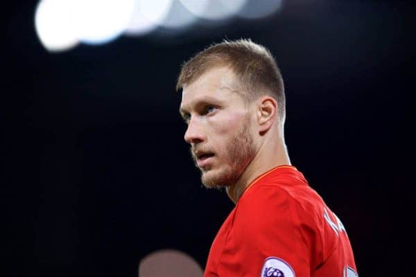 LIVERPOOL, ENGLAND - Saturday, December 31, 2016: Liverpool's Ragnar Klavan in action against Manchester City during the FA Premier League match at Anfield. (Pic by David Rawcliffe/Propaganda)