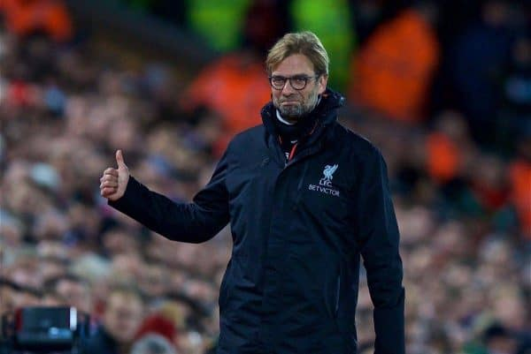 LIVERPOOL, ENGLAND - Saturday, December 31, 2016: Liverpool's manager J¸rgen Klopp reacts during the FA Premier League match against Manchester City at Anfield. (Pic by David Rawcliffe/Propaganda)