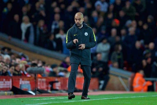 LIVERPOOL, ENGLAND - Saturday, December 31, 2016: Manchester City's manager Pep Guardiola during the FA Premier League match against Liverpool at Anfield. (Pic by David Rawcliffe/Propaganda)