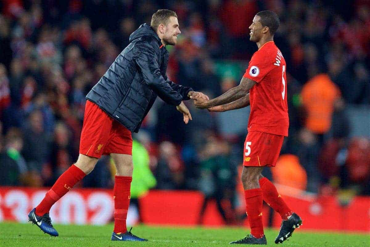 LIVERPOOL, ENGLAND - Saturday, December 31, 2016: Liverpool's captain Jordan Henderson and Georginio Wijnaldum celebrate at the final whistle after his side beat Manchester City 1-0 during the FA Premier League match at Anfield. (Pic by David Rawcliffe/Propaganda)