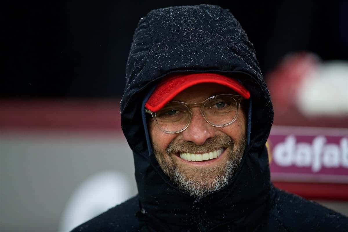 LIVERPOOL, ENGLAND - Saturday, December 30, 2017: Liverpool's manager Jürgen Klopp before the FA Premier League match between Liverpool and Leicester City at Anfield. (Pic by David Rawcliffe/Propaganda)