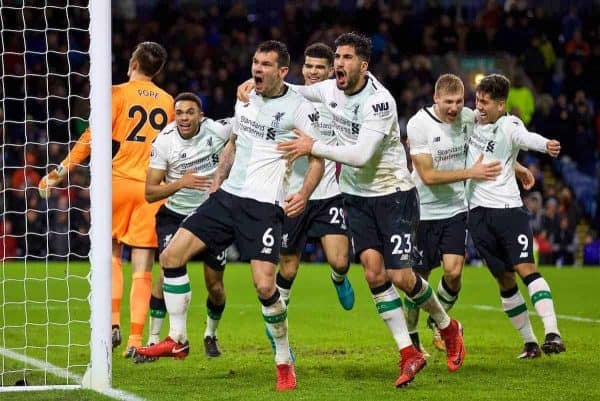 LIVERPOOL, ENGLAND - Saturday, December 30, 2017: Liverpool's Ragnar Klavan celebrates scoring the winning second goal with a header with team-mates Trent Alexander-Arnold, Dominic Solanke, Dejan Lovren and Emre Can during the FA Premier League match between Liverpool and Leicester City at Anfield. (Pic by David Rawcliffe/Propaganda)