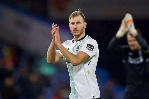 LIVERPOOL, ENGLAND - Saturday, December 30, 2017: Liverpool's match-winner Ragnar Klavan celebrates his side's late 2-1 victory over Burnley during the FA Premier League match between Liverpool and Leicester City at Anfield. (Pic by David Rawcliffe/Propaganda)