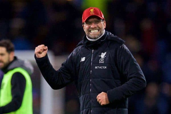 LIVERPOOL, ENGLAND - Saturday, December 30, 2017: Liverpool's manager Jürgen Klopp celebrates his side's late 2-1 victory over Burnley during the FA Premier League match between Liverpool and Leicester City at Anfield. (Pic by David Rawcliffe/Propaganda)