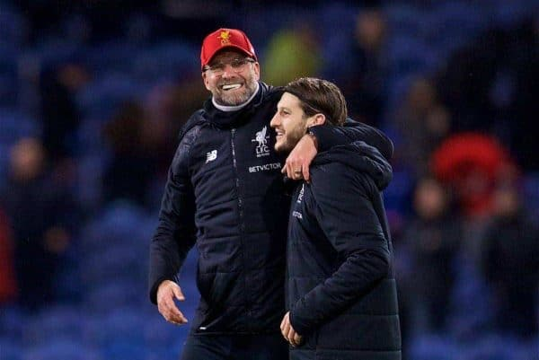 LIVERPOOL, ENGLAND - Saturday, December 30, 2017: Liverpool's manager Jürgen Klopp celebrates his side's late 2-1 victory over Burnley with Adam Lallana during the FA Premier League match between Liverpool and Leicester City at Anfield. (Pic by David Rawcliffe/Propaganda)