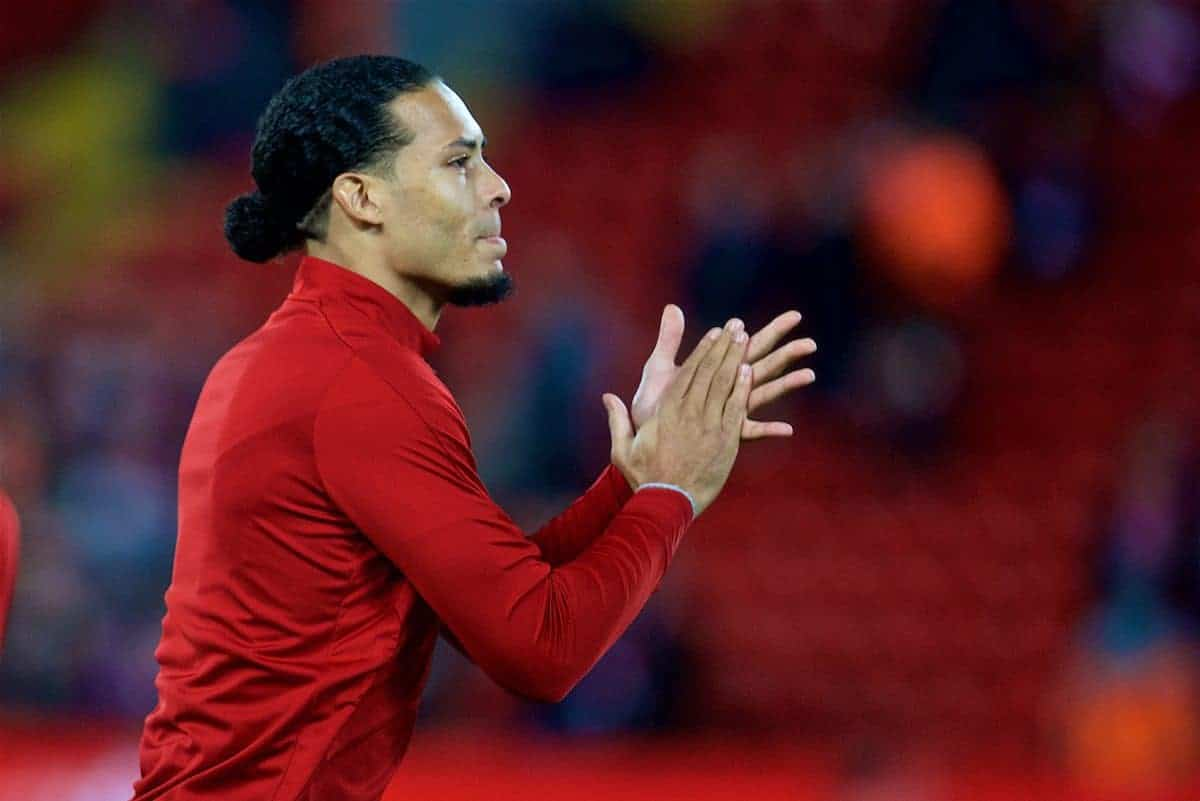 LIVERPOOL, ENGLAND - Friday, January 5, 2018: Liverpool's new signing Virgil van Dijk, who joined from Southampton for £75m, a world record for a defender, during the pre-match warm-up before the FA Cup 3rd Round match between Liverpool FC and Everton FC, the 230th Merseyside Derby, at Anfield. (Pic by David Rawcliffe/Propaganda)
