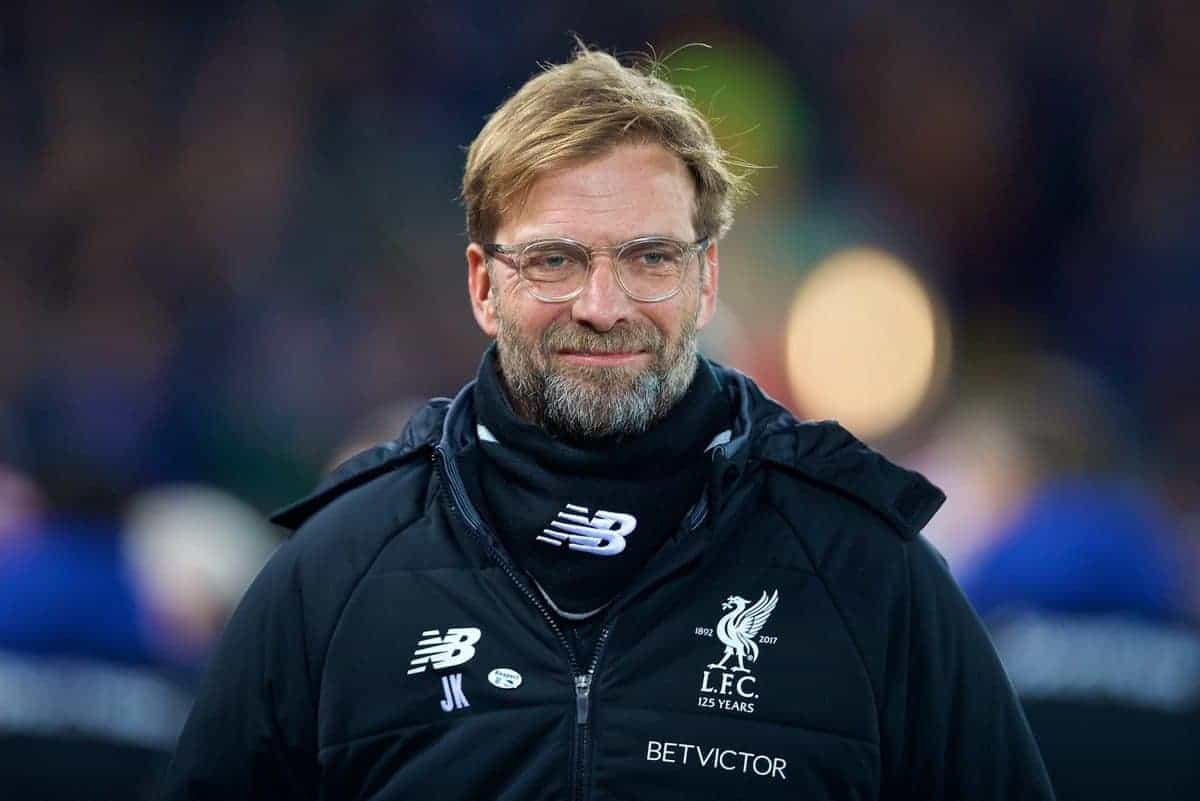 LIVERPOOL, ENGLAND - Friday, January 5, 2018: Liverpool's manager J¸rgen Klopp before the FA Cup 3rd Round match between Liverpool FC and Everton FC, the 230th Merseyside Derby, at Anfield. (Pic by David Rawcliffe/Propaganda)