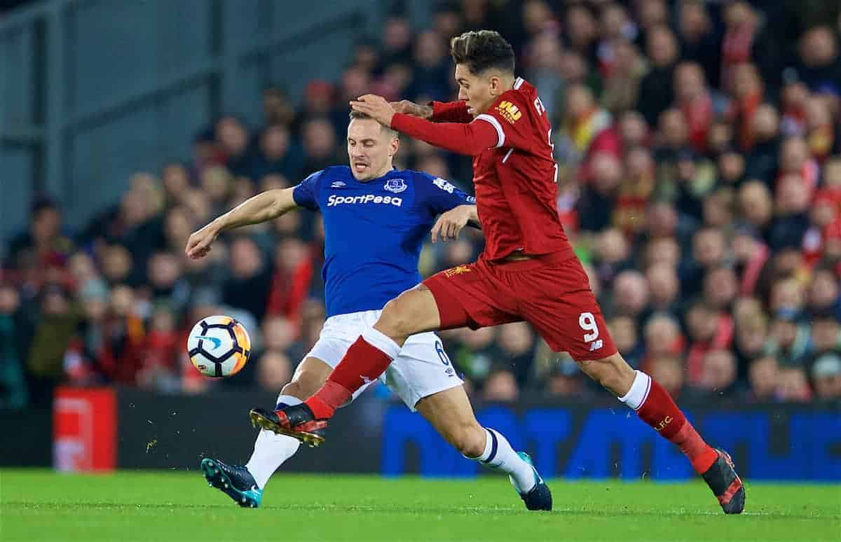 LIVERPOOL, ENGLAND - Friday, January 5, 2018: Liverpool's Roberto Firmino and Everton's captain Phil Jagielka during the FA Cup 3rd Round match between Liverpool FC and Everton FC, the 230th Merseyside Derby, at Anfield. (Pic by David Rawcliffe/Propaganda)