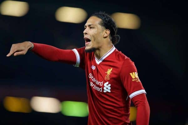 Liverpool's new signing Virgil van Dijk, who joined from Southampton for £75m, a world record for a defender, during the FA Cup 3rd Round match between Liverpool FC and Everton FC, the 230th Merseyside Derby, at Anfield. (Pic by David Rawcliffe/Propaganda)