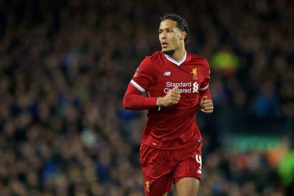 LIVERPOOL, ENGLAND - Friday, January 5, 2018: Liverpool's new signing Virgil van Dijk, who joined from Southampton for £75m, a world record for a defender,, during the FA Cup 3rd Round match between Liverpool FC and Everton FC, the 230th Merseyside Derby, at Anfield. (Pic by David Rawcliffe/Propaganda)
