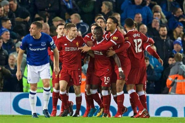 LIVERPOOL, ENGLAND - Friday, January 5, 2018: Liverpool's James Milner [#7] celebrates scoring the opening goal with team-mates during the FA Cup 3rd Round match between Liverpool FC and Everton FC, the 230th Merseyside Derby, at Anfield. (Pic by David Rawcliffe/Propaganda)