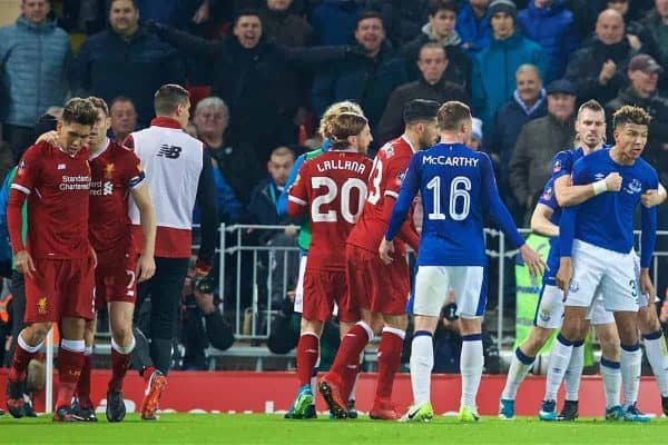 LIVERPOOL, ENGLAND - Friday, January 5, 2018: Everton's Mason Holgate is restrained by team-mates after pushing Liverpool's Roberto Firmino into the crowd during the FA Cup 3rd Round match between Liverpool FC and Everton FC, the 230th Merseyside Derby, at Anfield. (Pic by David Rawcliffe/Propaganda)