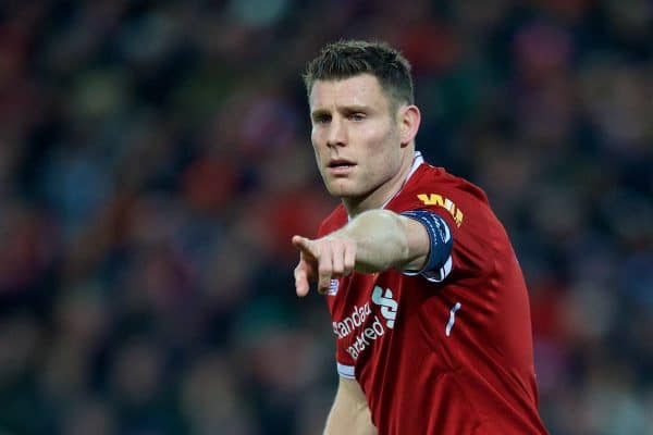 Liverpool's captain James Milner during the FA Cup 3rd Round match between Liverpool FC and Everton FC, the 230th Merseyside Derby, at Anfield. (Pic by David Rawcliffe/Propaganda)