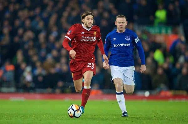LIVERPOOL, ENGLAND - Friday, January 5, 2018: Liverpool's Adam Lallana during the FA Cup 3rd Round match between Liverpool FC and Everton FC, the 230th Merseyside Derby, at Anfield. (Pic by David Rawcliffe/Propaganda)
