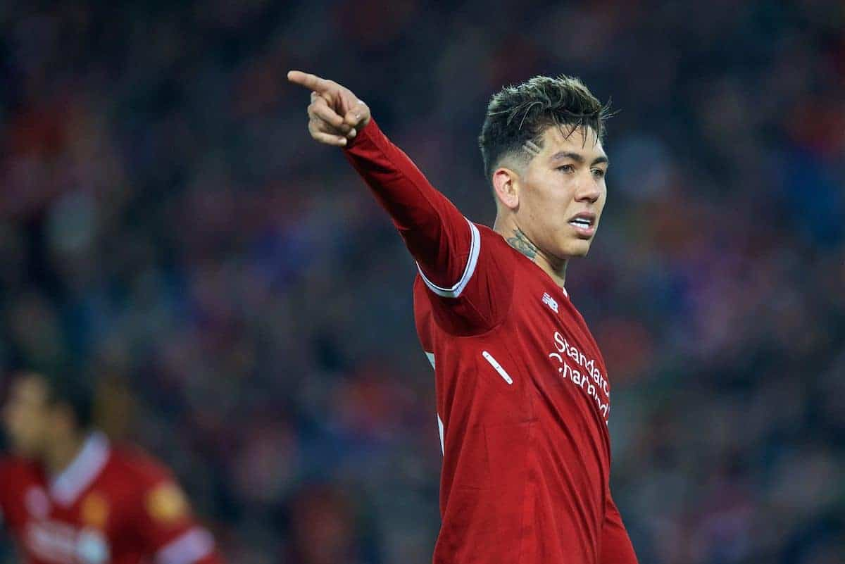 LIVERPOOL, ENGLAND - Friday, January 5, 2018: Liverpool's Roberto Firmino during the FA Cup 3rd Round match between Liverpool FC and Everton FC, the 230th Merseyside Derby, at Anfield. (Pic by David Rawcliffe/Propaganda)