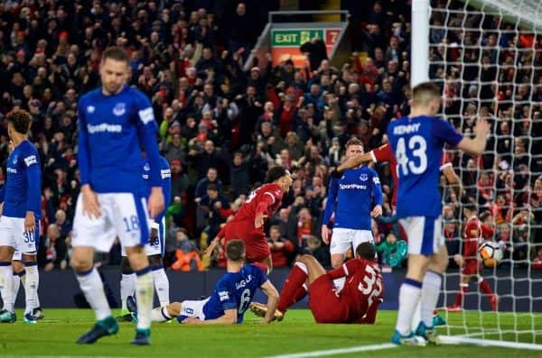 LIVERPOOL, ENGLAND - Friday, January 5, 2018: Liverpool's Virgil van Dijk celebrates scoring the second goal during the FA Cup 3rd Round match between Liverpool FC and Everton FC, the 230th Merseyside Derby, at Anfield. (Pic by David Rawcliffe/Propaganda)