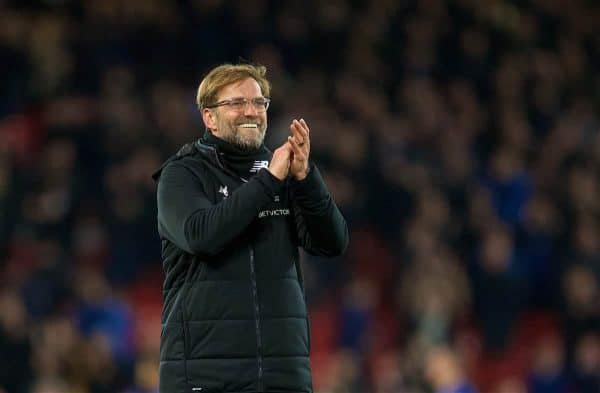 Liverpool's manager Jürgen Klopp celebrates after the 2-1 victory over Everton during the FA Cup 3rd Round match between Liverpool FC and Everton FC, the 230th Merseyside Derby, at Anfield. (Pic by David Rawcliffe/Propaganda)