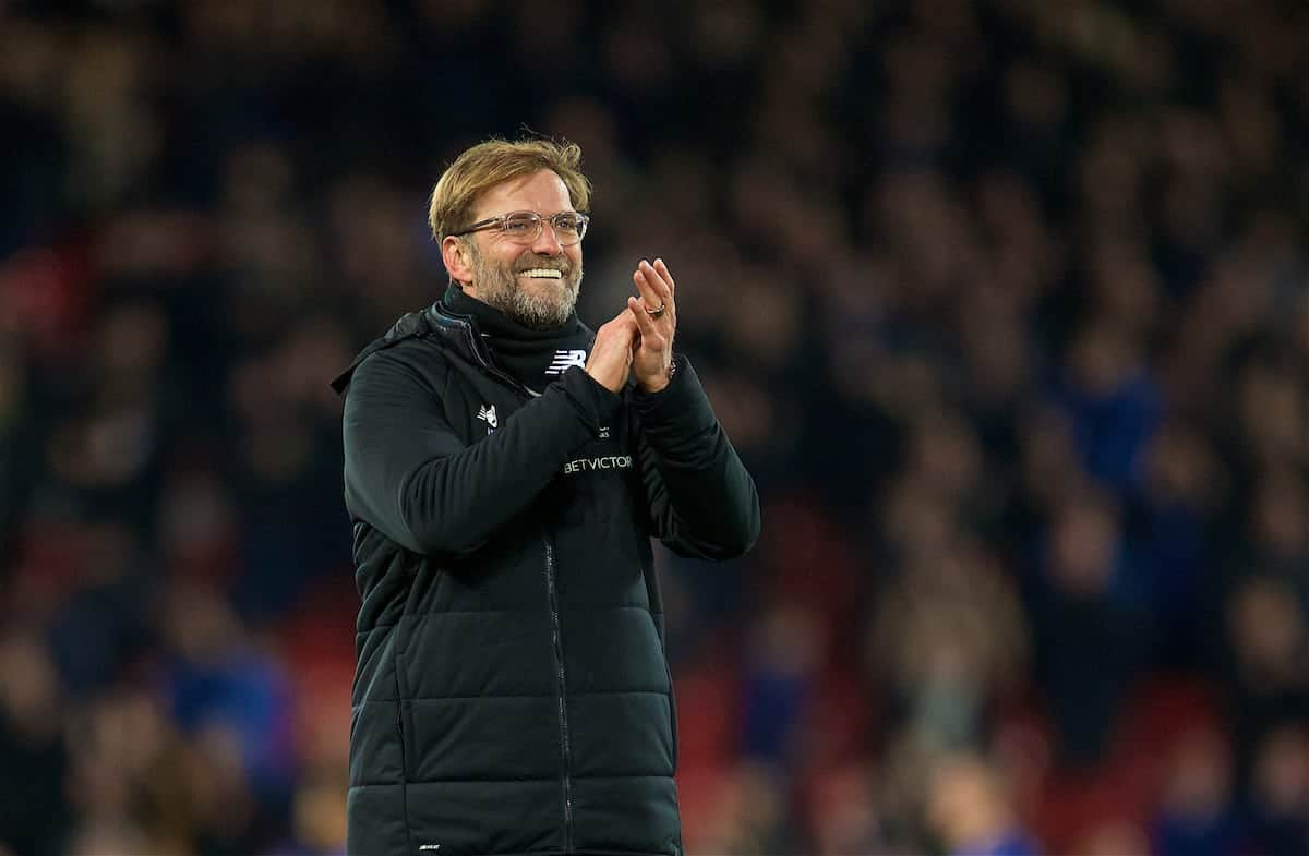 LIVERPOOL, ENGLAND - Friday, January 5, 2018: Liverpool's manager Jürgen Klopp celebrates after the 2-1 victory over Everton during the FA Cup 3rd Round match between Liverpool FC and Everton FC, the 230th Merseyside Derby, at Anfield. (Pic by David Rawcliffe/Propaganda)