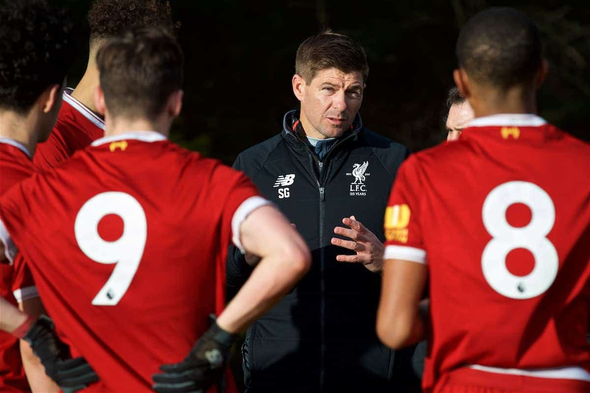 BLACKBURN, ENGLAND - Saturday, January 6, 2018: Liverpool's Under-18 manager Steven Gerrard gies a half-time team-talk during an Under-18 FA Premier League match between Blackburn Rovers FC and Liverpool FC at Brockhall Village Training Ground. (Pic by David Rawcliffe/Propaganda)