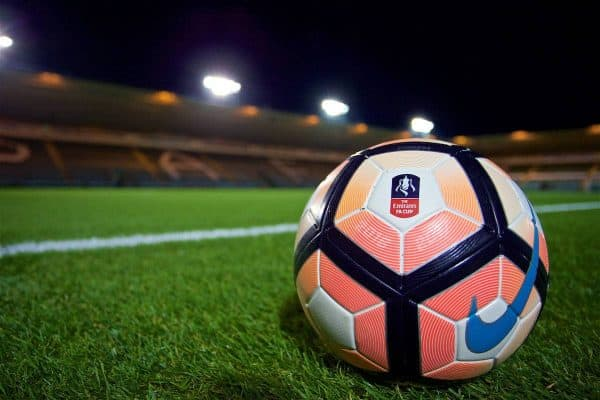 PLYMOUTH, ENGLAND - Wednesday, January 18, 2017: The official match ball on the pitch at Home Park before the FA Cup 3rd Round Replay match between Plymouth Argyle and Liverpool. (Pic by David Rawcliffe/Propaganda)