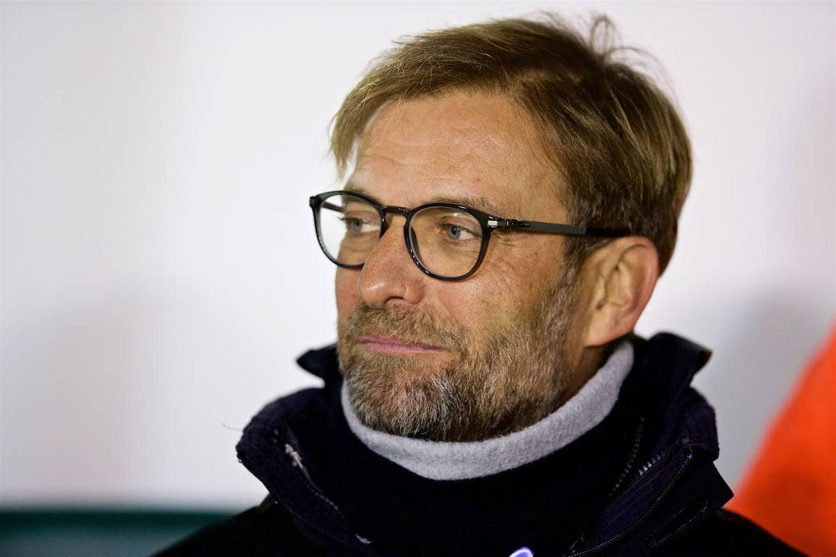 PLYMOUTH, ENGLAND - Wednesday, January 18, 2017: Liverpool's manager Jürgen Klopp before the FA Cup 3rd Round Replay match against Plymouth Argyle at Home Park. (Pic by David Rawcliffe/Propaganda)