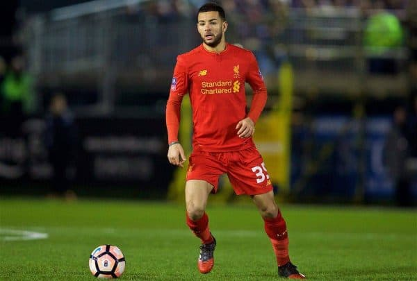 PLYMOUTH, ENGLAND - Wednesday, January 18, 2017: Liverpool's Kevin Stewart in action against Plymouth Argyle during the FA Cup 3rd Round Replay match at Home Park. (Pic by David Rawcliffe/Propaganda)