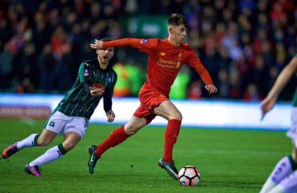 Liverpool's Ben Woodburn in action against Plymouth Argyle during the FA Cup 3rd Round Replay match at Home Park. (Pic by David Rawcliffe/Propaganda)