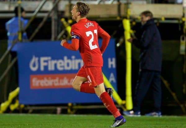 PLYMOUTH, ENGLAND - Wednesday, January 18, 2017: Liverpool's Lucas Leiva celebrates scoring the first goal against Plymouth Argyle during the FA Cup 3rd Round Replay match at Home Park. (Pic by David Rawcliffe/Propaganda)