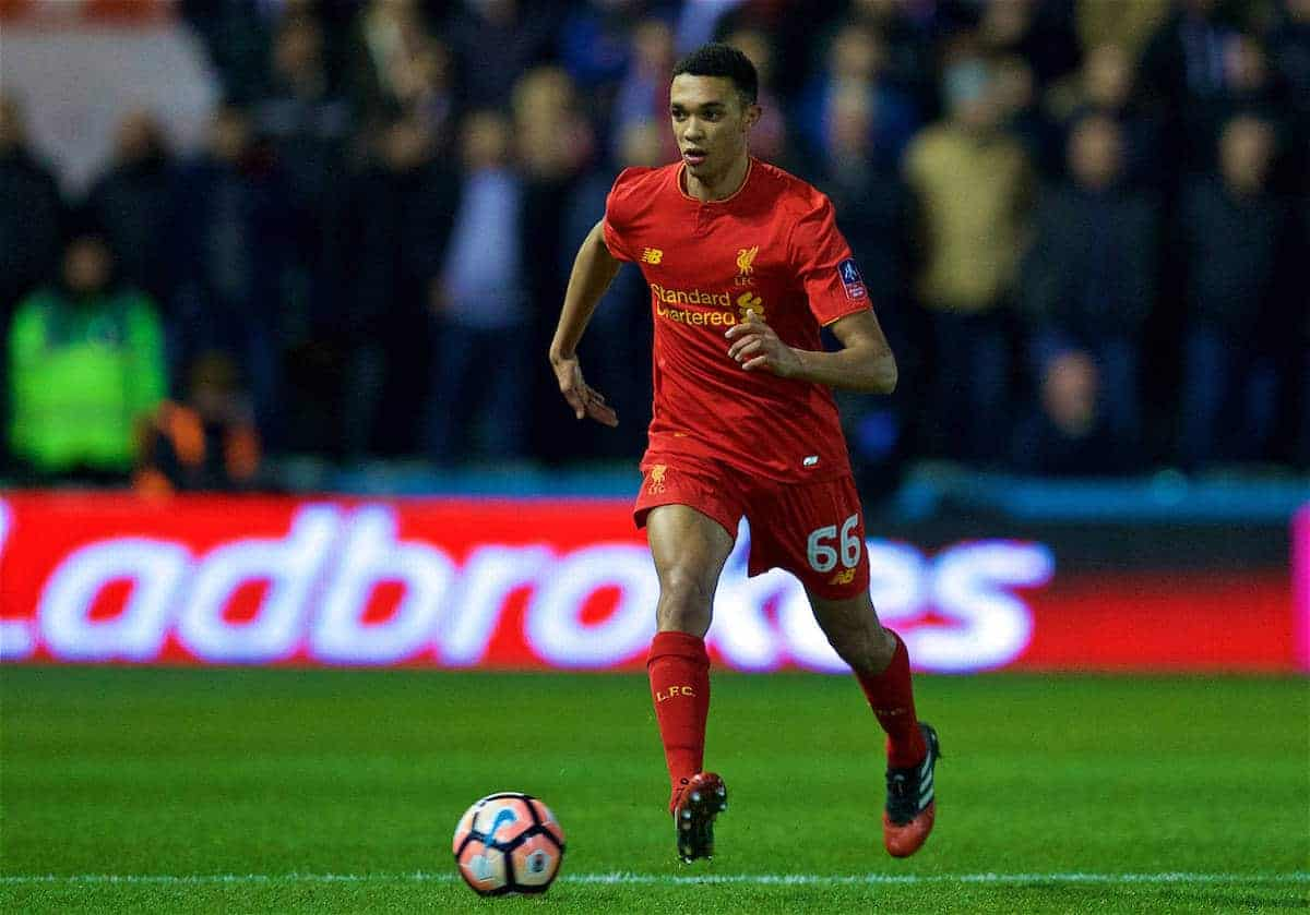 PLYMOUTH, ENGLAND - Wednesday, January 18, 2017: Liverpool's Trent Alexander-Arnold in action against Plymouth Argyle during the FA Cup 3rd Round Replay match at Home Park. (Pic by David Rawcliffe/Propaganda)