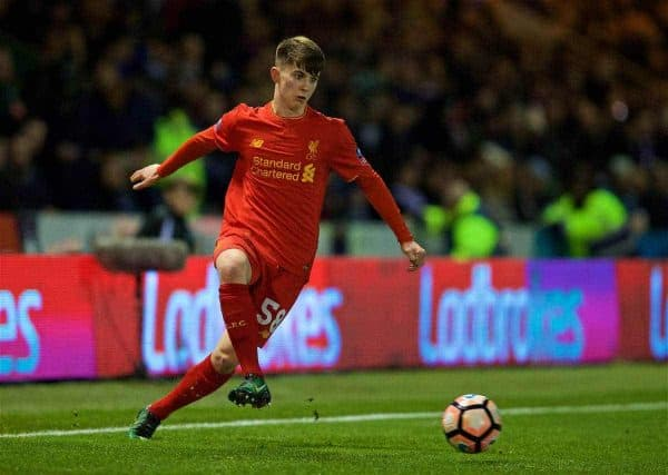 PLYMOUTH, ENGLAND - Wednesday, January 18, 2017: Liverpool's Ben Woodburn in action against Plymouth Argyle during the FA Cup 3rd Round Replay match at Home Park. (Pic by David Rawcliffe/Propaganda)