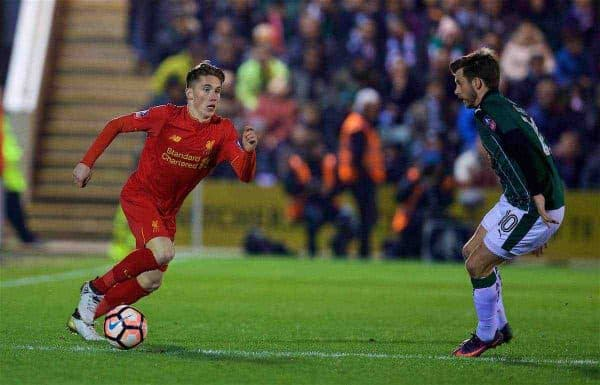 PLYMOUTH, ENGLAND - Wednesday, January 18, 2017: Liverpool's Harry Wilson in action against Plymouth Argyle during the FA Cup 3rd Round Replay match at Home Park. (Pic by David Rawcliffe/Propaganda)