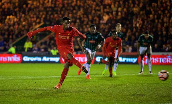 PLYMOUTH, ENGLAND - Wednesday, January 18, 2017: Liverpool's Divock Origi sees his penalty kick saved during the FA Cup 3rd Round Replay match against Plymouth Argyle at Home Park. (Pic by David Rawcliffe/Propaganda)