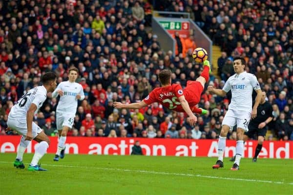 LIVERPOOL, ENGLAND - Saturday, January 21, 2017: Liverpool's Adam Lallana tries a bicycle kick shot against Swansea City during the FA Premier League match at Anfield. (Pic by David Rawcliffe/Propaganda)