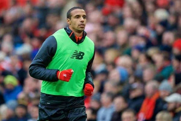 Liverpool's substitute Joel Matip warms-up against Swansea City during the FA Premier League match at Anfield. (Pic by David Rawcliffe/Propaganda)