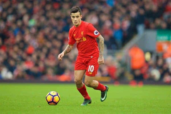 LIVERPOOL, ENGLAND - Saturday, January 21, 2017: Liverpool's Philippe Coutinho Correia in action against Swansea City during the FA Premier League match at Anfield. (Pic by David Rawcliffe/Propaganda)