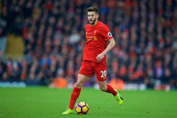 LIVERPOOL, ENGLAND - Saturday, January 21, 2017: Liverpool's Adam Lallana in action against Swansea City during the FA Premier League match at Anfield. (Pic by David Rawcliffe/Propaganda)