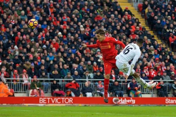 Liverpool's Roberto Firmino scores the first goal against Swansea City to pull a goal back and make the score 1-2 during the FA Premier League match at Anfield. (Pic by David Rawcliffe/Propaganda)