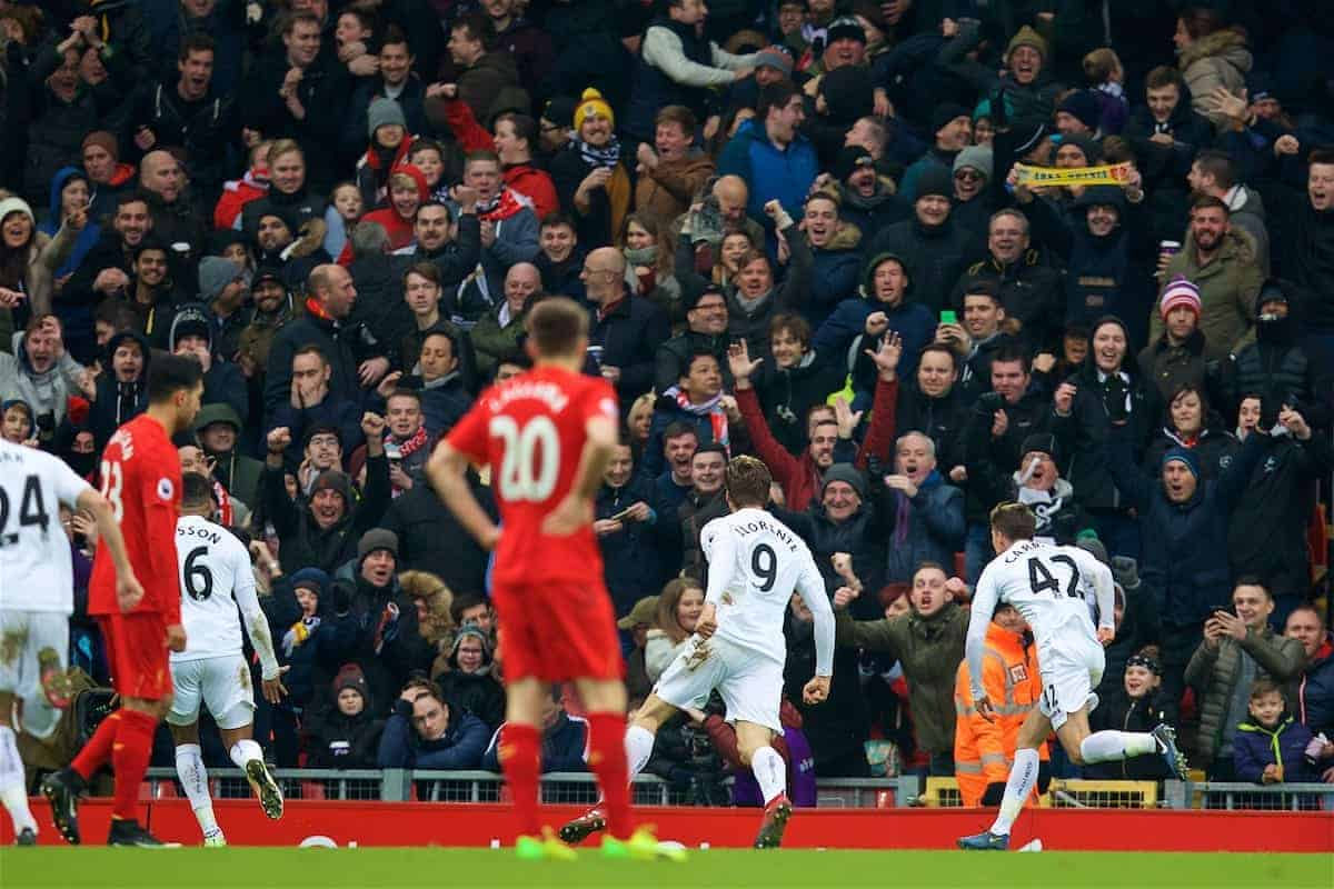 LIVERPOOL, ENGLAND - Saturday, January 21, 2017: Swansea City's Fernando Llorente celebrates scoring the second goal against Liverpool during the FA Premier League match at Anfield. (Pic by David Rawcliffe/Propaganda)