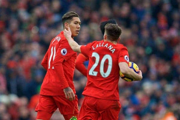 LIVERPOOL, ENGLAND - Saturday, January 21, 2017: Liverpool's Roberto Firmino celebrates scoring the first goal against Swansea City, with team-mate Adam Lallana, to pull a goal back and make the score 1-2 during the FA Premier League match at Anfield. (Pic by David Rawcliffe/Propaganda)