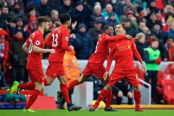 Liverpool's Roberto Firmino celebrates scoring the first goal against Swansea City, with team-mate Adam Lallana, to pull a goal back and make the score 1-2 during the FA Premier League match at Anfield. (Pic by David Rawcliffe/Propaganda)