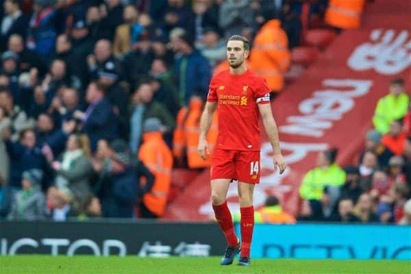 LIVERPOOL, ENGLAND - Saturday, January 21, 2017: Liverpools captain Jordan Henderson looks dejected as Swansea City scorer the third goal during the FA Premier League match at Anfield. (Pic by David Rawcliffe/Propaganda)