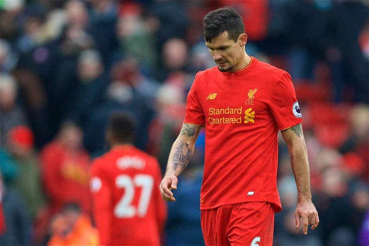 LIVERPOOL, ENGLAND - Saturday, January 21, 2017: Liverpool's Dejan Lovren looks dejected as his side lose 3-2 to Swansea City during the FA Premier League match at Anfield. (Pic by David Rawcliffe/Propaganda)