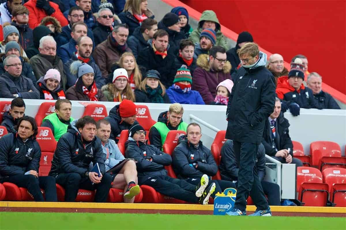LIVERPOOL, ENGLAND - Saturday, January 21, 2017: Liverpool's manager Jürgen Klopp looks dejected as his side lose 3-2 to Swansea City during the FA Premier League match at Anfield. (Pic by David Rawcliffe/Propaganda)