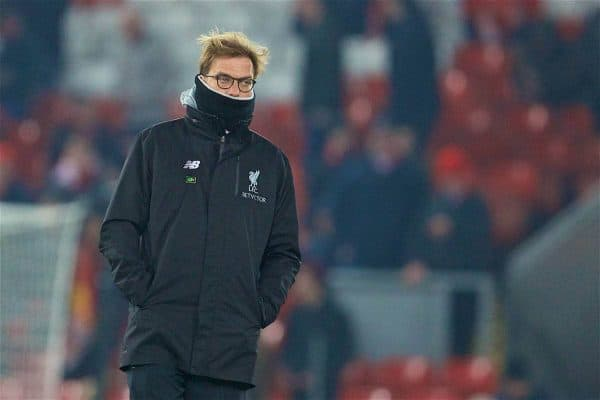LIVERPOOL, ENGLAND - Wednesday, January 25, 2017: Liverpool's manager Jürgen Klopp before the Football League Cup Semi-Final 2nd Leg match against Southampton at Anfield. (Pic by David Rawcliffe/Propaganda)