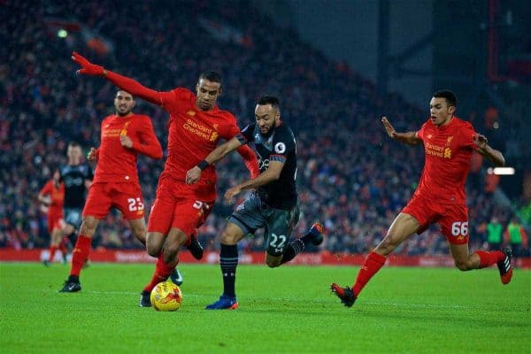 LIVERPOOL, ENGLAND - Wednesday, January 25, 2017: Liverpool's Joel Matip in action against Southampton's Nathan Redmond during the Football League Cup Semi-Final 2nd Leg match at Anfield. (Pic by David Rawcliffe/Propaganda)
