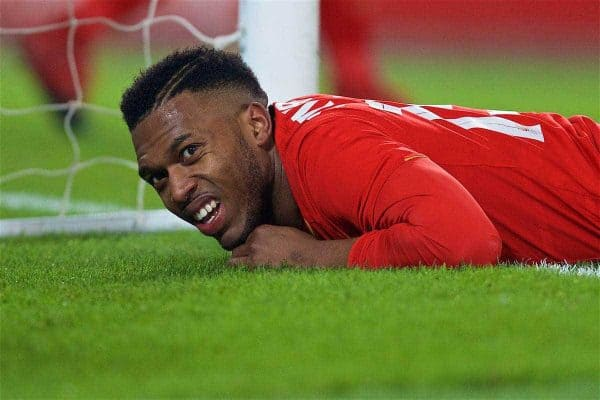 LIVERPOOL, ENGLAND - Wednesday, January 25, 2017: Liverpool's Daniel Sturridge looks dejected after missing a chance against Southampton during the Football League Cup Semi-Final 2nd Leg match at Anfield. (Pic by David Rawcliffe/Propaganda)